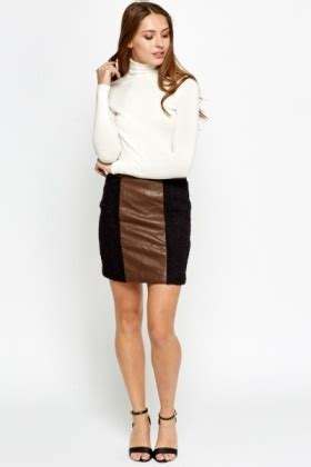 Faux Leather Panel Skirt contrast faux leather panel skirt black brown just 163 5
