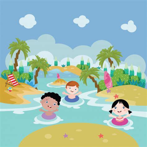 imagenes niños nadando ni 241 os nadan en la ilustraci 243 n de dibujos animados de lago