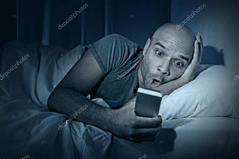 man using cell phone in bed stock images image 33817024 young cell phone addict man awake at night in bed using
