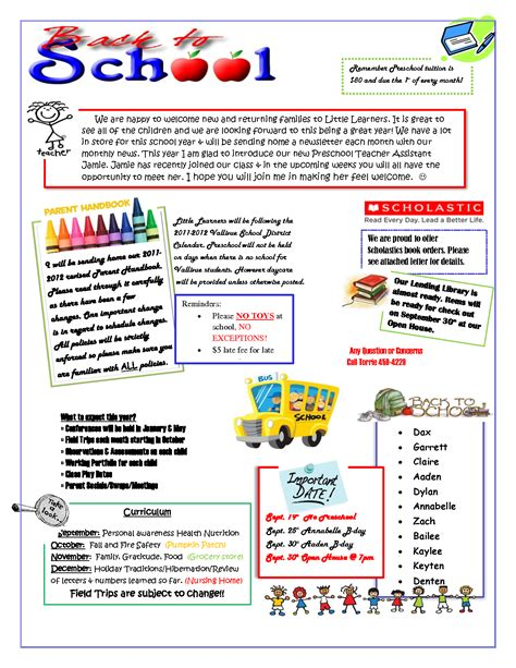 kindergarten newsletter template 28 images kinders