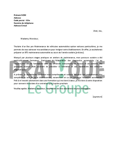 Vendeur Automobile Lettre De Motivation Lettre De Motivation Pour Un Bts Maintenance Automobile Pratique Fr
