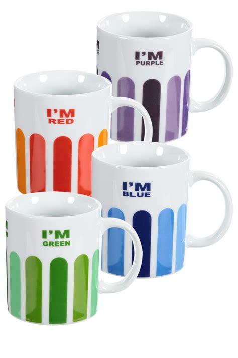 Bright Fun Tea Mug Colourful Coffee Mug Set of 4
