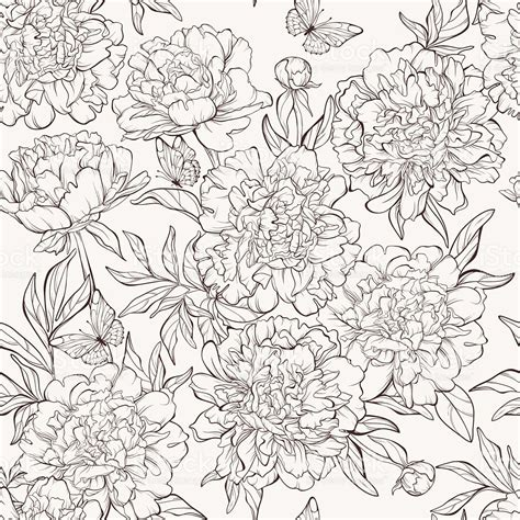 hand drawn flower pattern seamless pattern with handdrawn peony flowers stock vector
