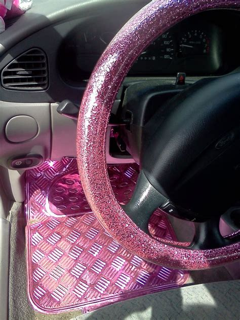 gold glitter car quot my own quot glitter pink steering wheel cover from korea