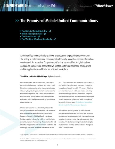 mobile unified communications the promise of mobile unified communications