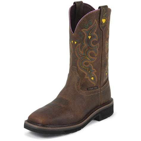 womans boots s justin 11 quot composite toe stede pull on boots