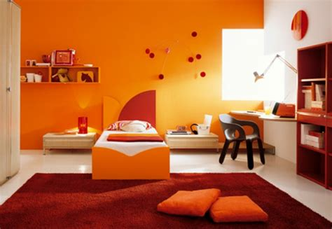 bett yellow möbel orange babyzimmer dekor