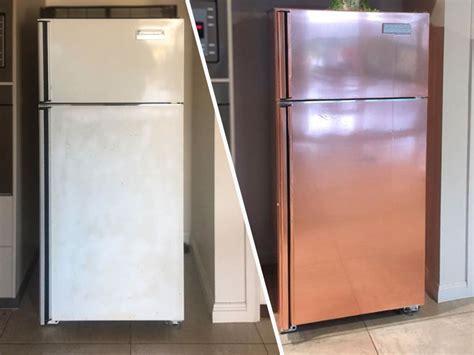 rose gold appliances cheap diy hack gives a garage sale fridge a new stunning