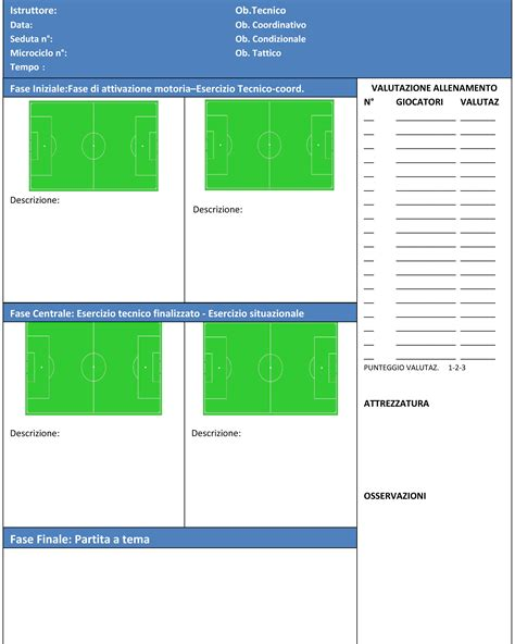 seduta di allenamento calcio scheda allenamento alleniamoilcalcio net