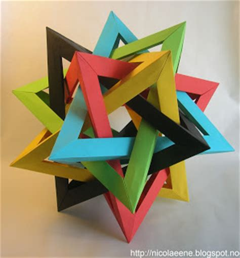 Origami Hedron - nicolae ene origami five intersecting tetrahedra by
