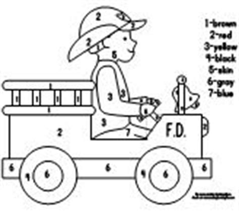 truck color by number coloring pages math ideas for fire theme fire