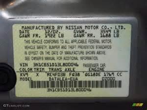 Nissan Paint Codes 2003 Nissan Sentra Gxe Color Code Photos Gtcarlot