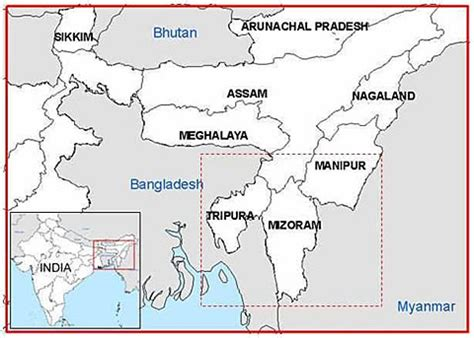 East India Map Outline by Northeast India Fires