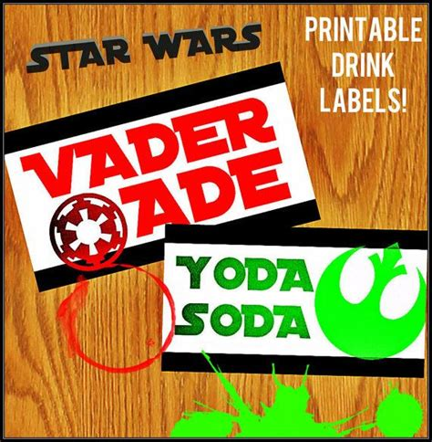 printable star wars drink labels 17 best images about star wars party on pinterest star
