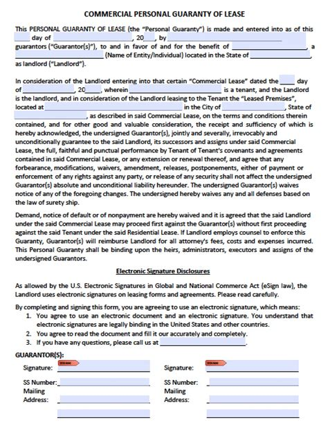 personal guarantee template uk personal guarantee agreement forms leases