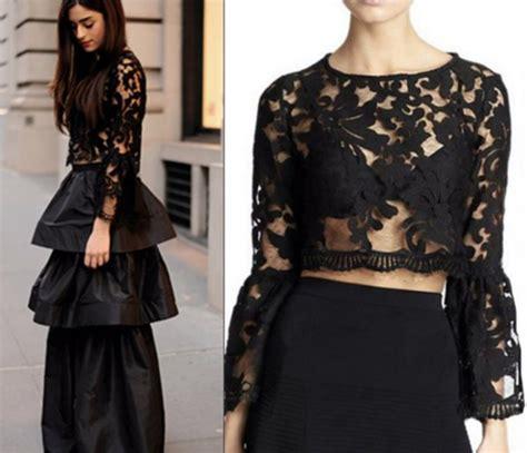 Sleeve Sheer Lace Top top sheer top sheer sleeve top black lace top