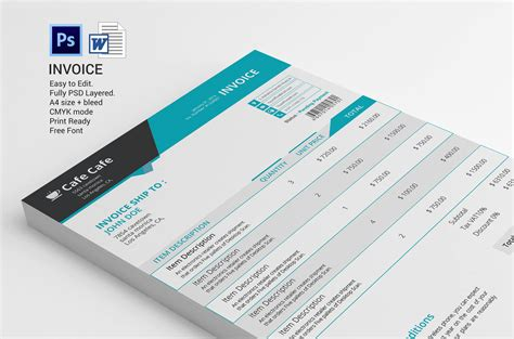 Business Invoice Template Stationery Templates On Creative Market Creative Invoice Template Free