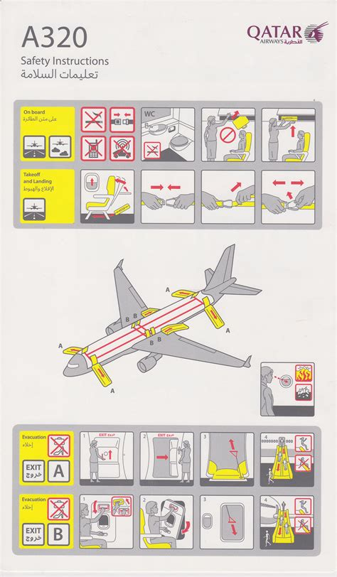 airline safety card template safety card qatar airways airbus a320 1