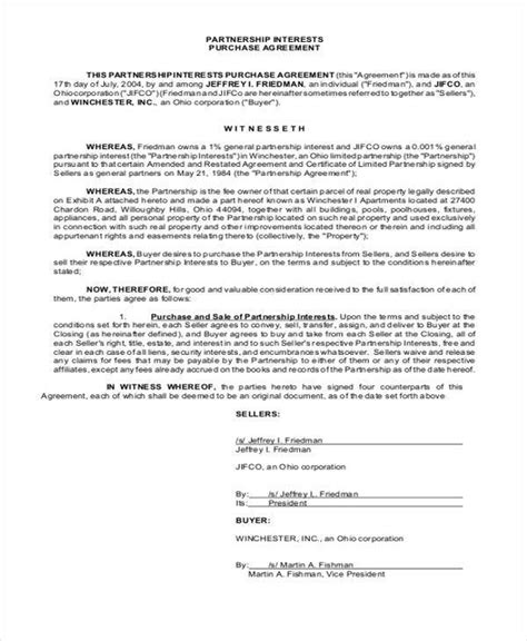 11 Partnership Agreement Form Sles Free Sle Exle Format Download Partnership Interest Purchase Agreement Template
