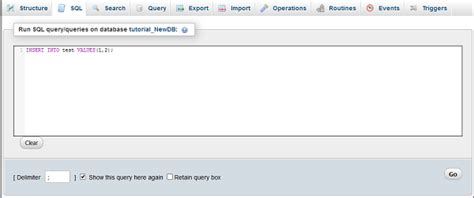 sql query in tutorial point cpanel phpmyadmin