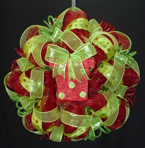 red lime green christmas wreath poly mesh deco mesh geo