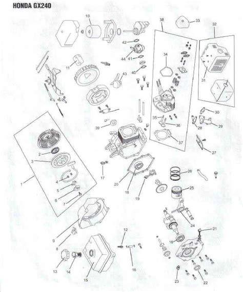 honda gx240 parts diagram honda gx240 engine parts diagram lawnmower pros