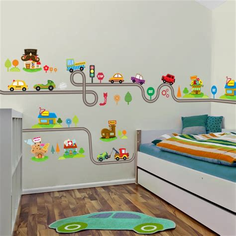 cartoon cars highway track wall stickers  kids rooms