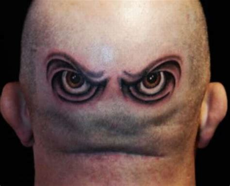 Eyeball Tattoo On Back Of Head | eye tattoo design on back head celebrity tattoos female