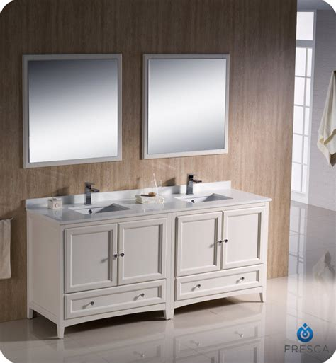 Antique White Double Vanity 72 Quot Fresca Oxford Fvn20 3636aw Traditional Double Sink