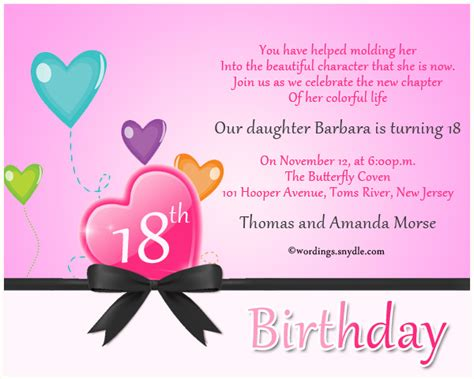 Invitation Letter For 18th Birthday 18th Birthday Invitation Wording Wordings And Messages
