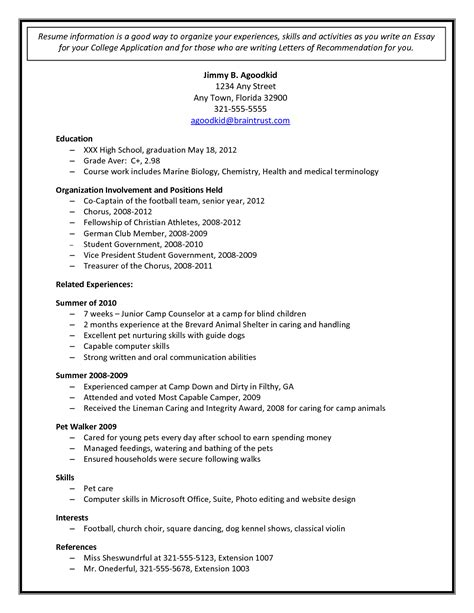 college resumes sample examples of resumes for college high