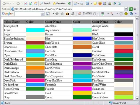 all color names colors chart with names www pixshark images