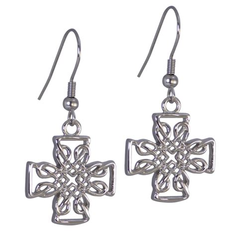 celtic cross earrings hypoallergenic surgical stainless