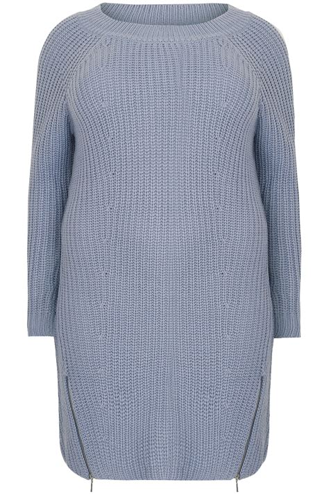 light home care address light blue chunky knit tunic dress with zip hem plus size