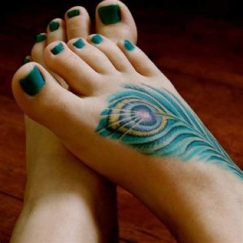 colorful foot tattoos peacock feather meaning and design guide
