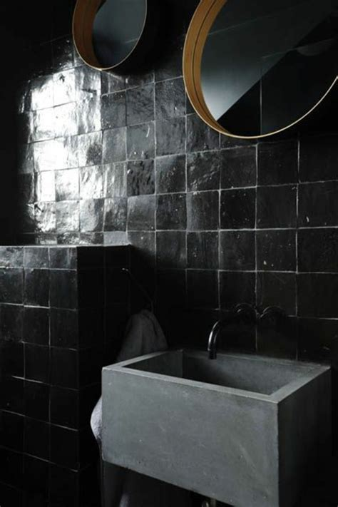 schwarze fliesen einrichten mit farben schwarze wandfarbe und schwarze