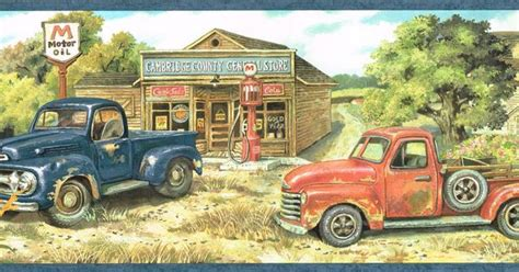 country blue red pick  trucks general store farm