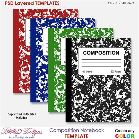 Composition Notebook Cover Template By Boop Designs Composition Notebook Cover Template By Boop Composition Book Cover Template
