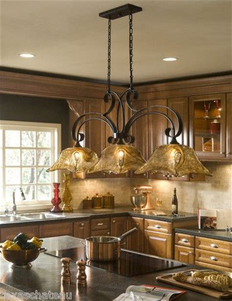 kitchen chandelier lighting french country bronze amber art glass kitchen island