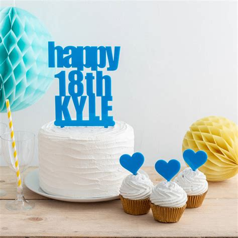 personalised bold birthday   age cake topper  funky laser notonthehighstreetcom