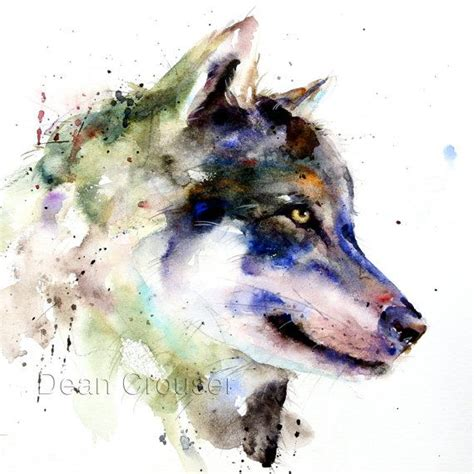 watercolor wolf tutorial wolf large watercolor print by dean crouser por