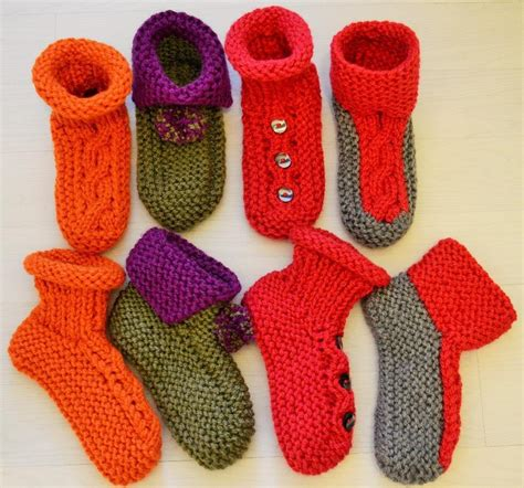 knitting pattern socks chunky chunky slipper socks 4 styles knitting pattern by