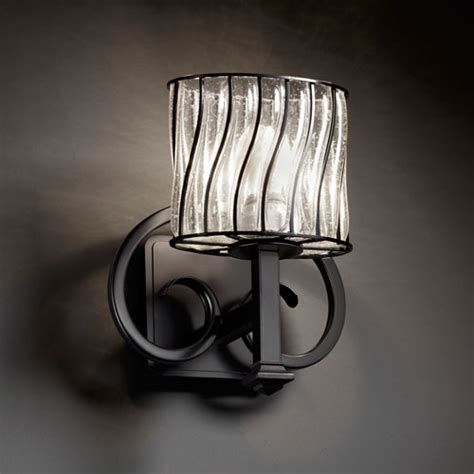 wire glass heritage matte black wall sconce contemporary