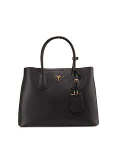 prada saffiano cuir small tote bag black pale pink nero