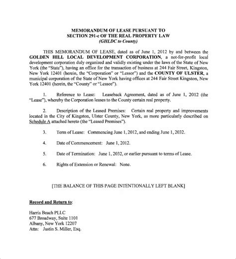 memorandum of agreement template sle memorandum of lease agreement 9 free documents