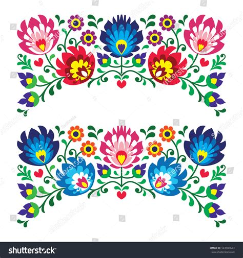 embroidery design vector polish floral folk embroidery patterns card stock vector