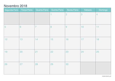 Calendario Novembro 2018 Calend 225 Novembro 2018 Para Imprimir Icalend 225 Pt