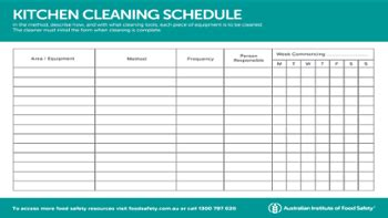 Kitchen Equipment Schedule Templates
