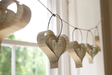 home decoration with paper home decor paper heart garland shakespeare upcycled books