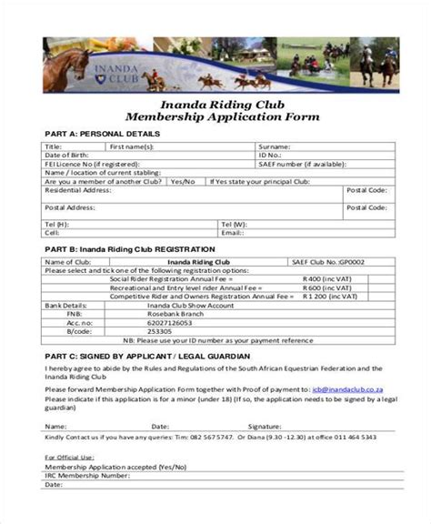 7 membership application form sles free sle